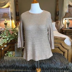 Chico's Tan Woven Sweater with Rose Gold Metallic